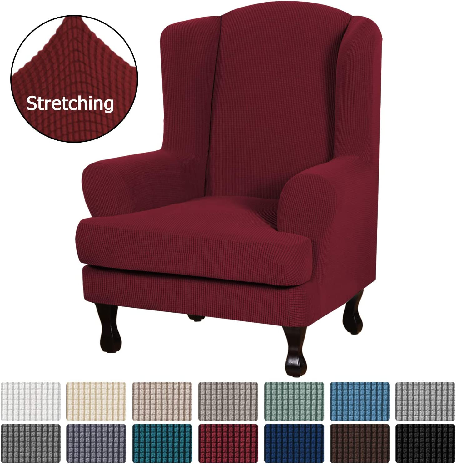 Machine Washable Slip Resistant Stylish Wingback Chair Cover 2 Piece with Elastic Bottom Black H.VERSAILTEX Stretch Wing Chair Cover Jacquard Spandex Stretch Slipcovers for Wingback Chairs