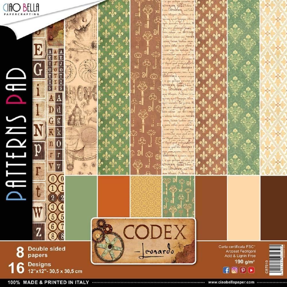 Ciao Bella CBPM010 Double-Sided Paper Pack 90lb 12X12 Pkg-Codex Leonardo 12 Designs//1
