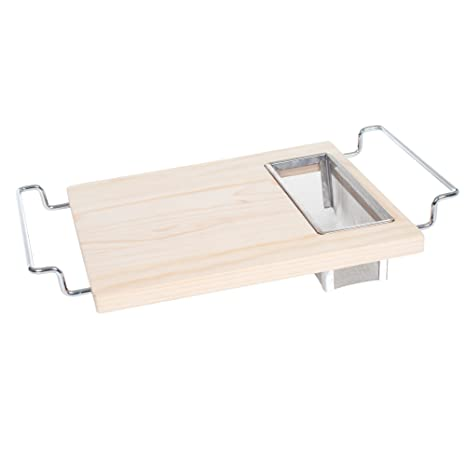 Cutting Board With Wire Colander  2 In 1 Adjustable Wooden Chopping Board  For Over The