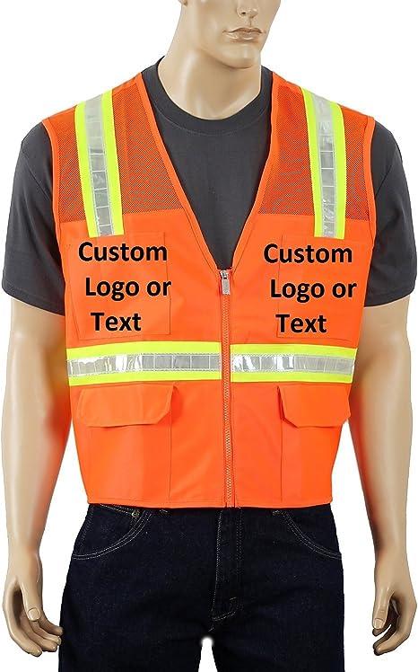 Customise Hi vis Safety Jacket Personalised Bomber Padded Warm Jackets Printed