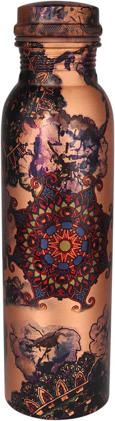 Zap Impex Travellers - Botella de agua de cobre puro, diseño gráfico para ventajas ayurvédicas