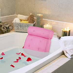 """AUMA Original Premium Spa Bath Pillow with 4 Suction Cups, 15"""" x 14"""", 4"""" Thick Comfortable Luxury Design, Quick Drying, Cushion Provides Head, Neck, Shoulder Support Bath Tub Pillow in Tub (Pink)"""