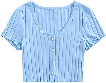 Verdusa Women's Button Down V Neck Rib Knit Crop Top T Shirt