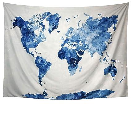 Amazon Com Lahashoker Blue Watercolor World Map Tapestry Splatter