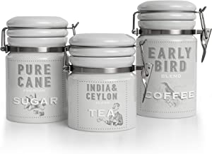 Barnyard Designs Kitchen Canister Set, Airtight Ceramic Canisters with Lid, Decorative Coffee, Sugar, Tea, Storage Containers for Kitchen Counter, Rustic Farmhouse Decor, Grey, Set of 3