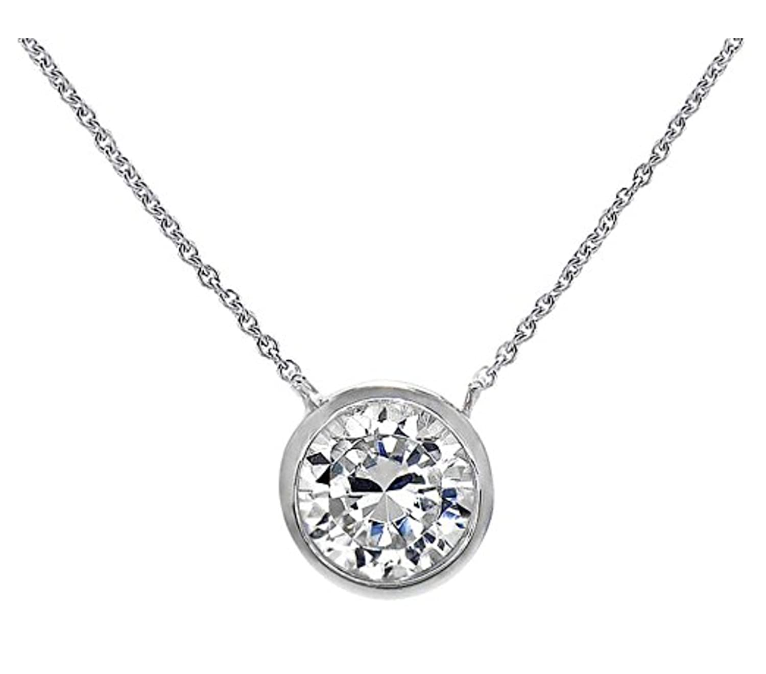 ".925 Sterling Silver Pendant Necklace with Anti Tarnish Mirror Finish Round Bezel 8mm CZ 16"" - 18"""