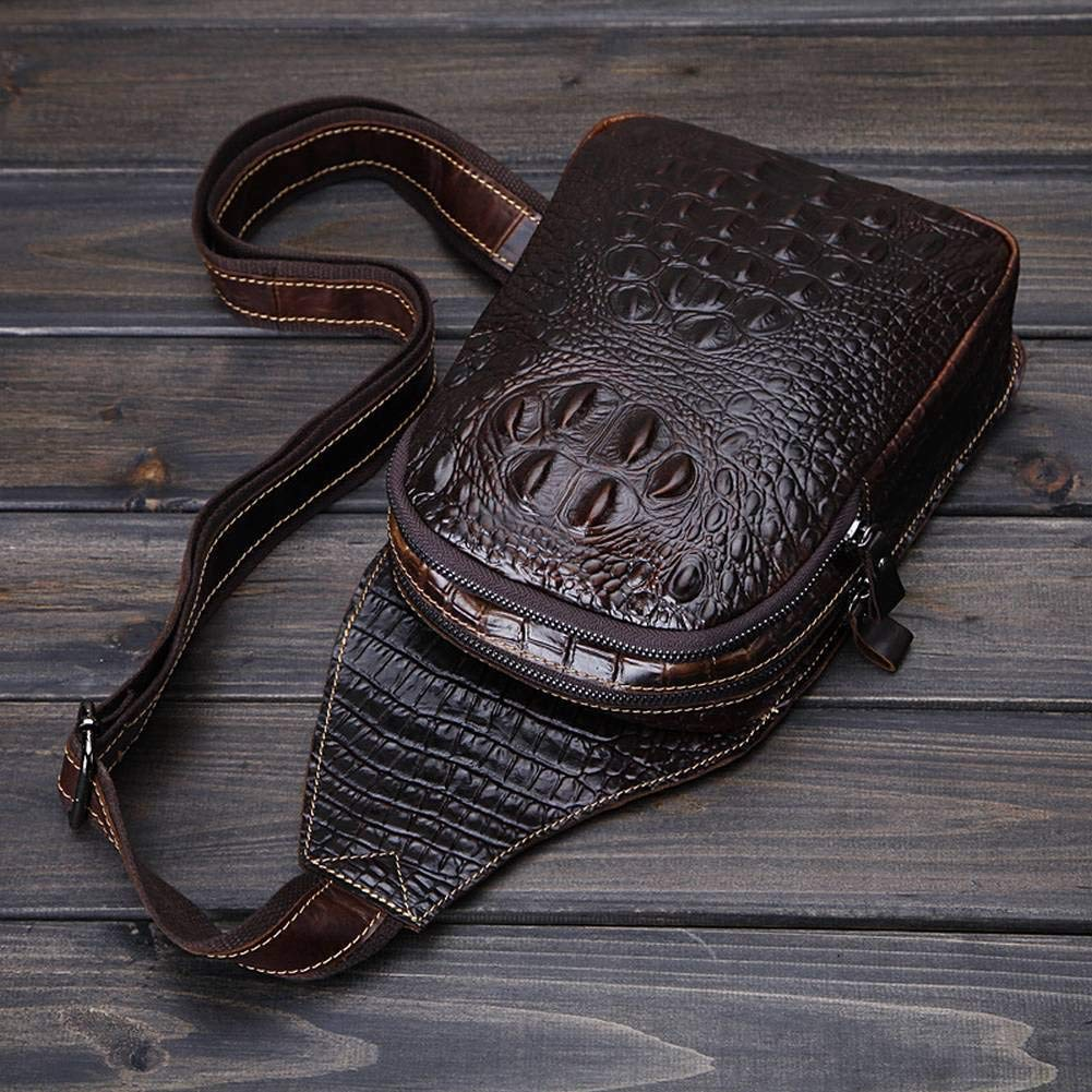 Brown SY Creative Fashion Multi-Function Chest Bag Crocodile Head Crocodile Pattern Leather Mens Chest Bag Sports Outdoor Leisure Mens Bag for Men