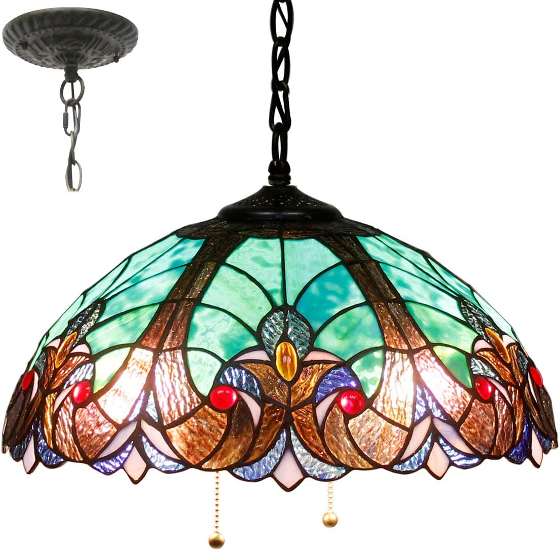 Tiffany Hanging Lamp 16 Inch Pull Chain Green Liaison Stained Glass Lampshade Anqitue Style Pendant 2 Light Ceiling Fixture Decorate Dinner Room Living Room Bedroom S160G WERFACTORY