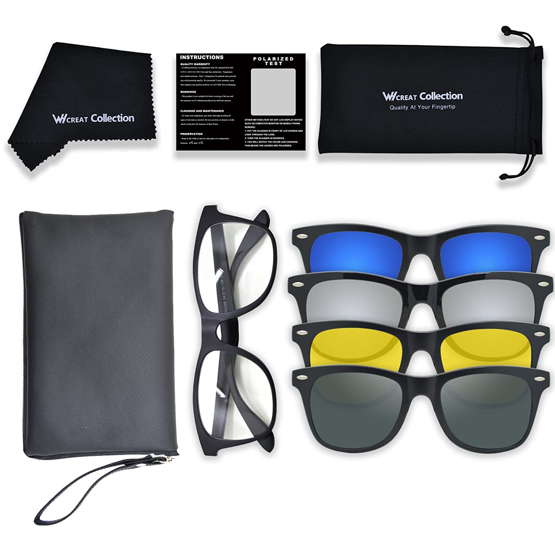 WHCREAT Wayfarer Unisex Magnetisch Clip-on Polarisierte Sonnenbrillen Unzerbrechlich Ultraleicht TR90 Rahmen mit 4 Austauschbare UV-Schutz Linse GYg8fy