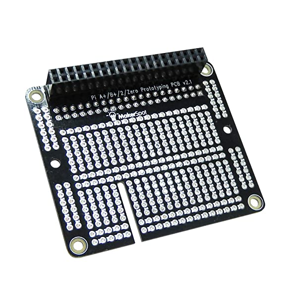 Raspberry Pi 3 Prototyping Board Proto Breadboard HAT by MakerSpot Soldered  with Female Pin Connector PCB for Raspberry Pi 2 Pi 3 A+ B+ (1 Pack)