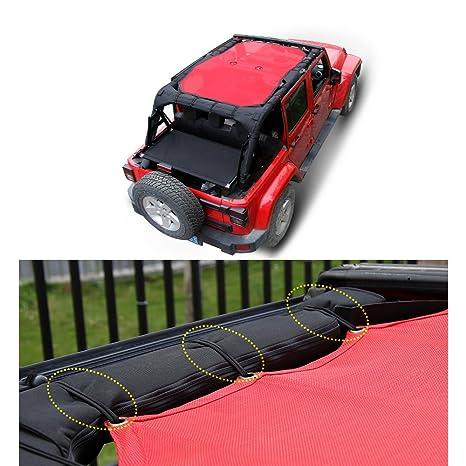 Amazon.com: JeCar Red Durable Mesh Sunshade Top Cover Provides UV Sun Protection for 2007-2017 Jeep Wrangler JK/JKU 4-Door: Automotive