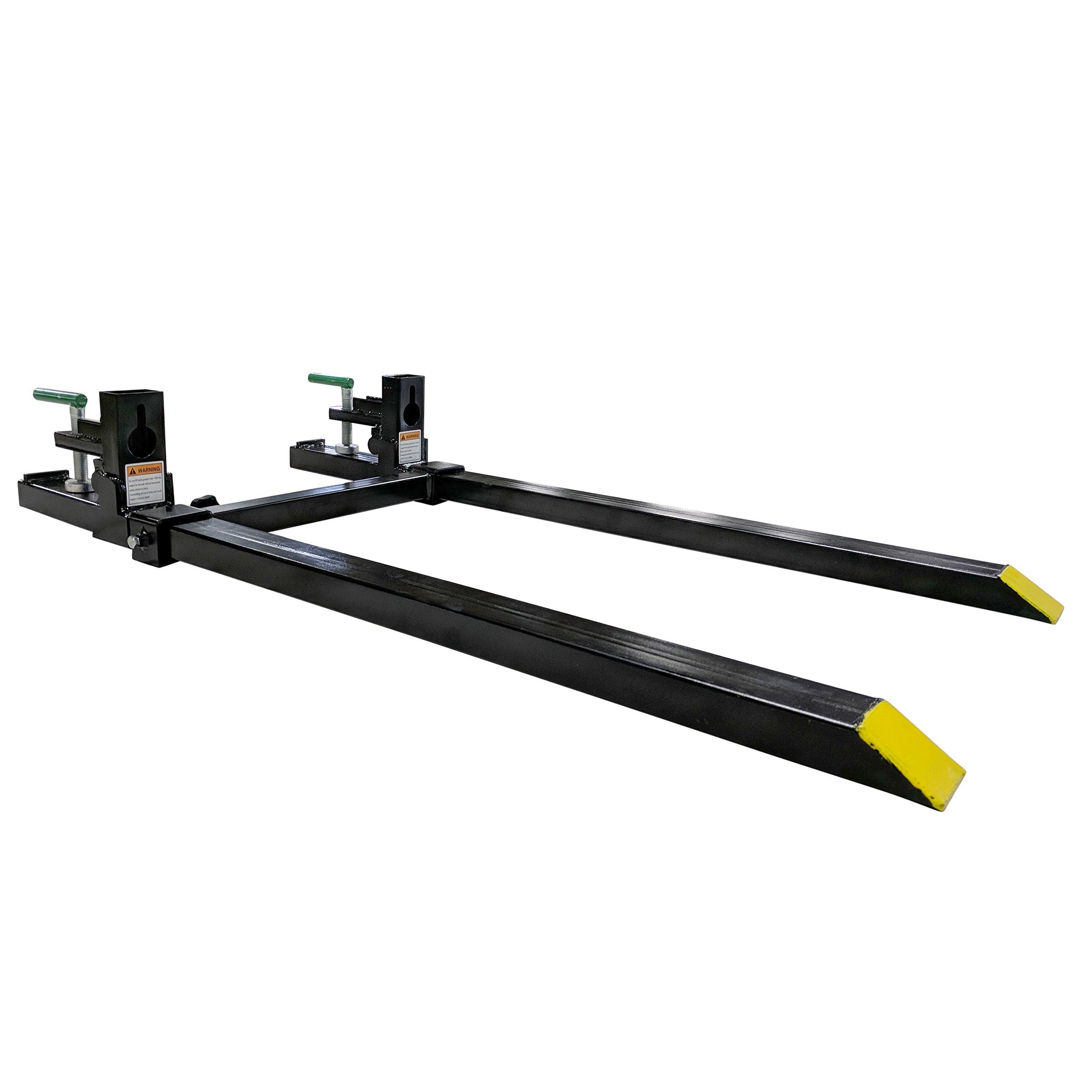 Clamp on Pallet Forks w/ Adjustable Stabilizer Bar LW for loaders 1500lb