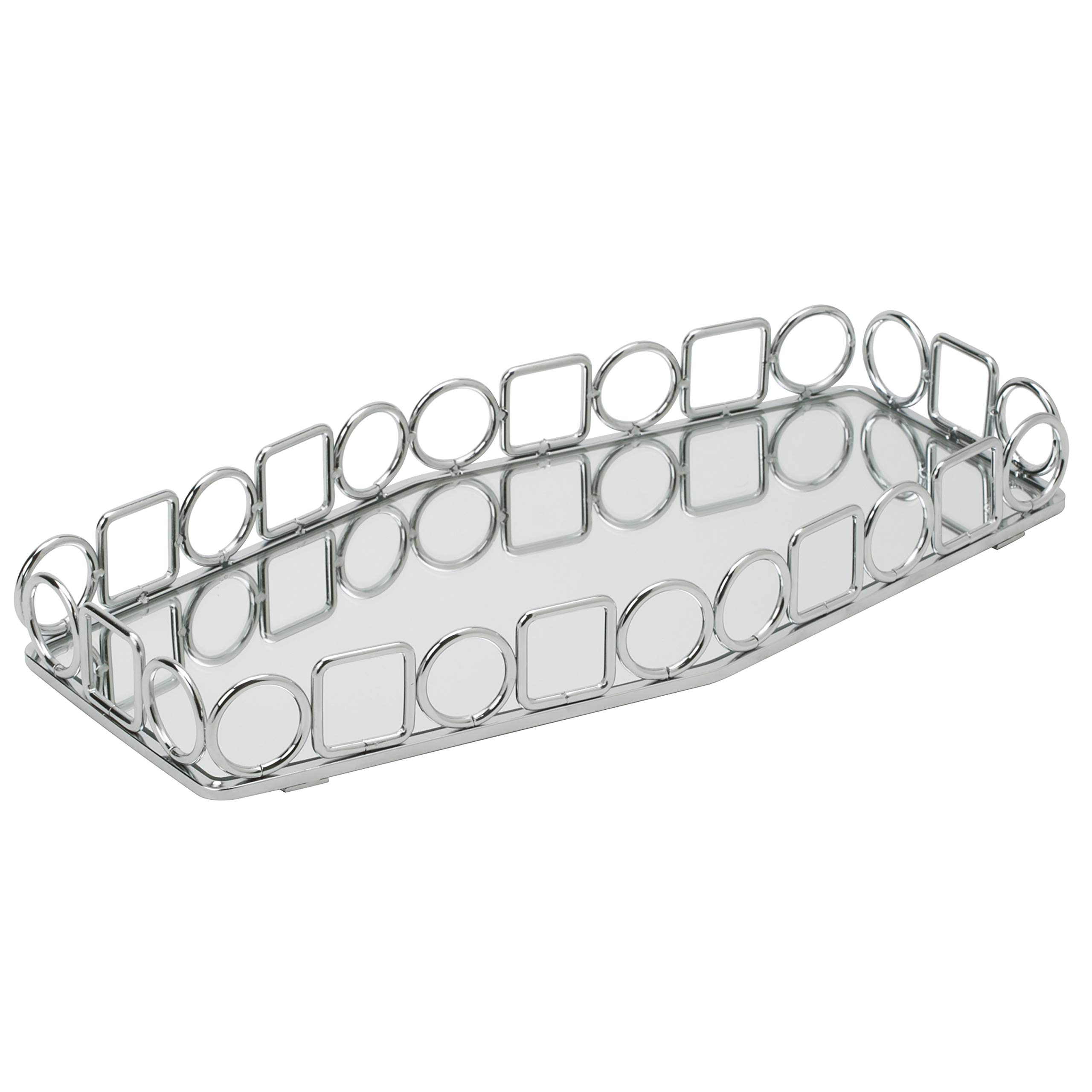 Home Details Mirrored Vanity Tray for Dresser, Perfume, Desk, Cosmetic & Jewelry Organizer, Decorative, Chrome by Home Details