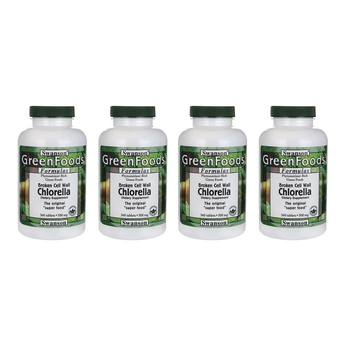 Swanson Broken Cell Wall Chlorella 500 mg 360 Tabs 4 Pack