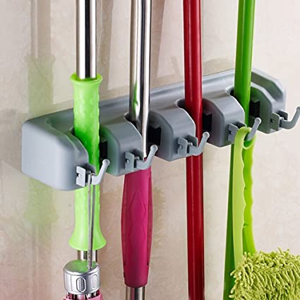 Ontime Mop And Broom Holder, Multipurpose Wall Mounted Organizer Storage  Hooks, Ideal Broom Hanger