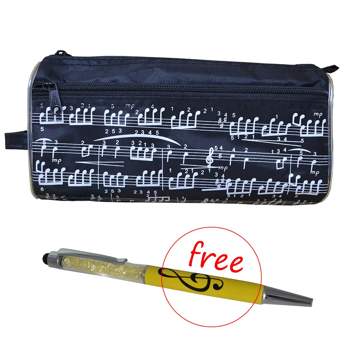 Pencil Bag Music Notes Pen Case Waterproof Oxford Cloth Portable Stationery Pouch Bag with Free Crystal Capacitive Ballpoint Gift (Black)