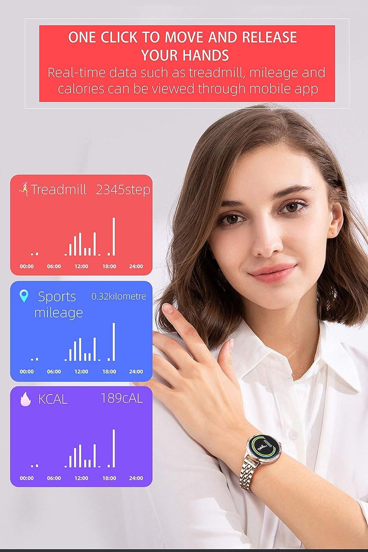 Orologio sportivo da donna, impermeabile, cardiofrequenzimetro, contapassi, contatore di calorie, cronometro, SMS, fitness da ragazza, orologio da polso da donna Acciaio Dorato.