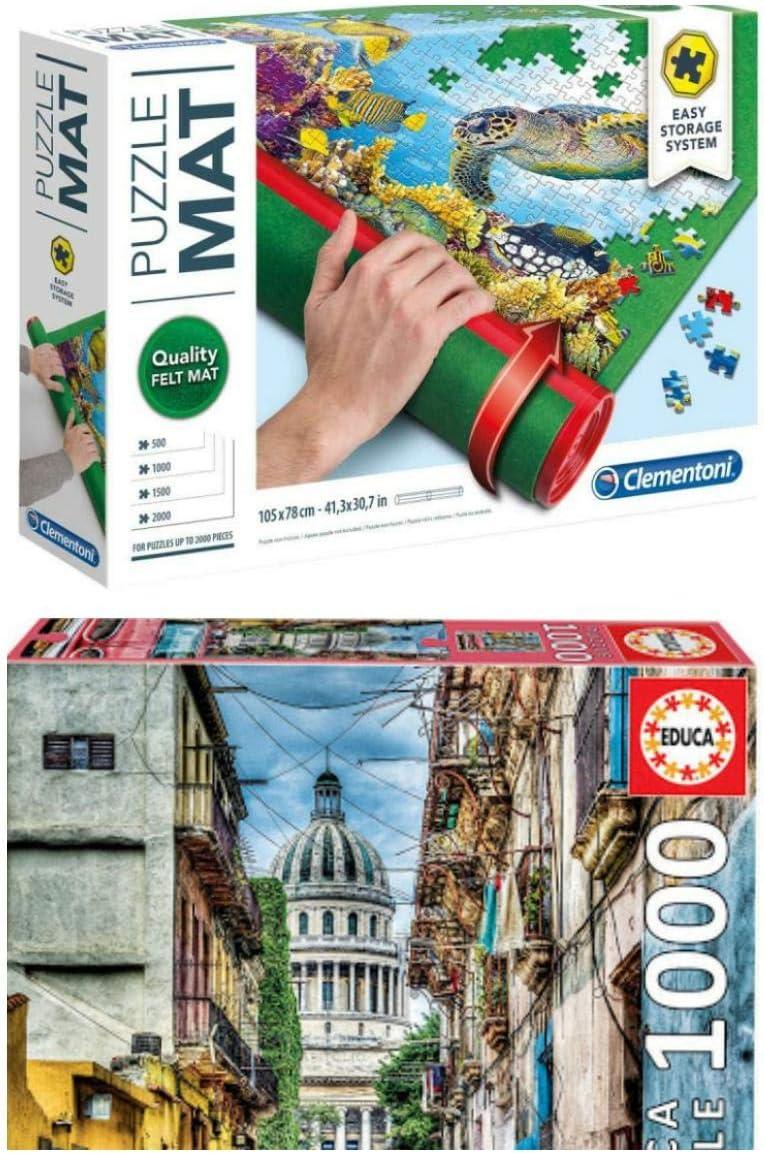 Outletdelocio Pack Puzzle Educa 16754. Coche en La Habana (Cuba). 1000 Piezas + Tapete Universal Puzzle Roll Clementoni 30297: Amazon.es: Juguetes y juegos