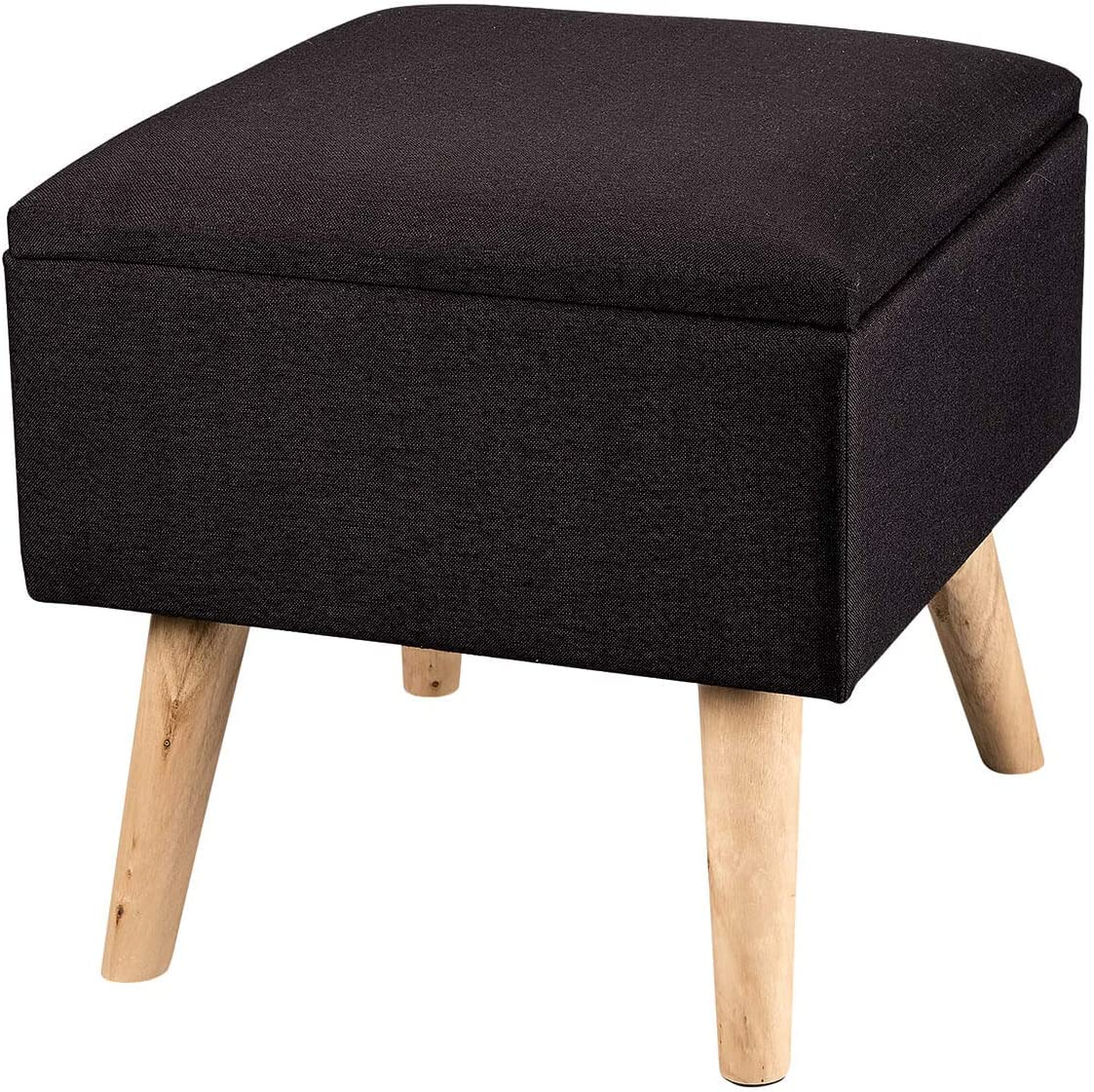 OakRidge Square Footstool Storage Ottoman with Hinged Cover, Black