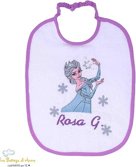 Babero Bebé de rizo de algodón blanco con bordado Elsa de Frozen y ...