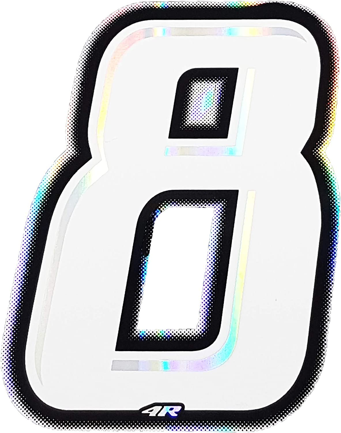 10/x 6.5/cm Holographic Racing Number 8 Slim White