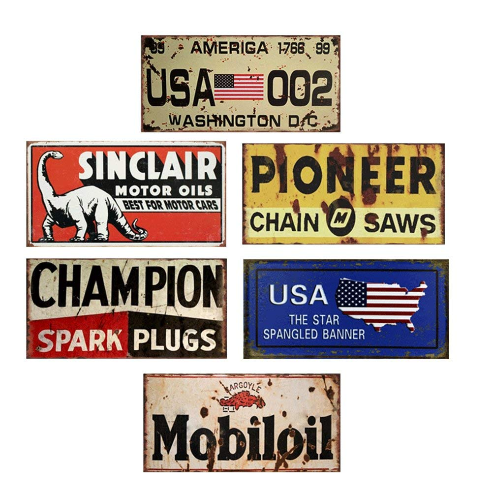 Letrero de Metal para decoraci/ón de Bar de campe/ón 6 Placas de Metal para Coche con n/úmero de Estados Unidos Placa de matr/ícula para Garaje Easy Painter
