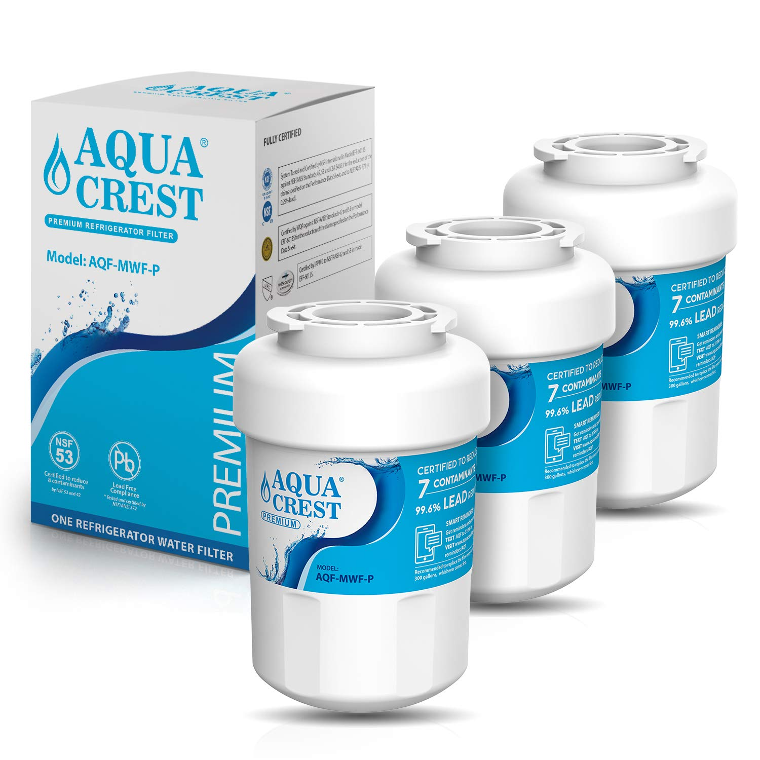 AQUACREST MWF Refrigerator Water Filter, NSF 53&42 Certified to Reduce Lead, Compatible with GE SmartWater MWFP, MWFA, GWF, HDX FMG-1, WFC1201, GSE25GSHECSS, PC75009 (Pack of 3)