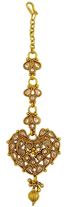 Bridal Maang Tikka Earring Set Bollywood Style Gold Tone femmes indiennes Bijoux 15