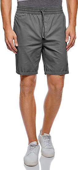 TALLA 38. oodji Ultra Hombre Pantalón Corto de Algodón con Cinturón Elástico y Cordones