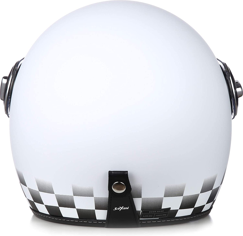 "53-54cm SOXON/® SP-888 /""Sir Snow/"" /· Jet-Helm /· Motorrad-Helm Roller-Helm Scooter-Helm Bobber /· ECE Sonnenvisier Schnellverschluss SlimShell Tasche XS"
