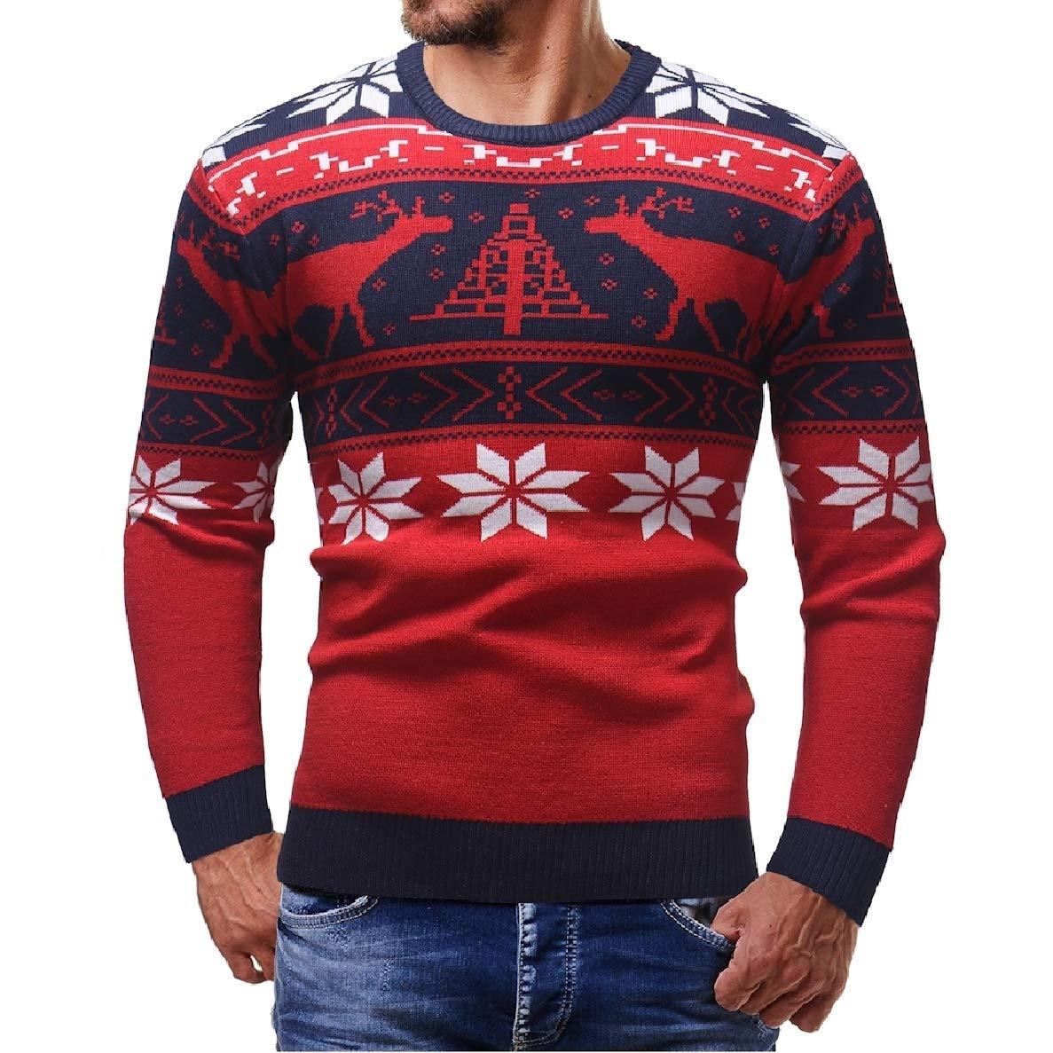 Winwinus Mens Chirstmas Comfort Long Sleeves Round Neck Casual Sweaters Tops Blouse