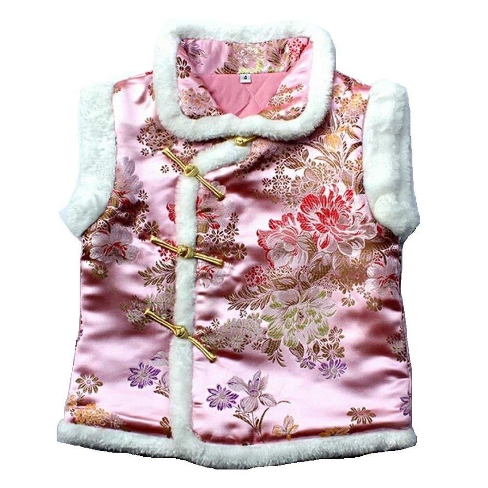 7dc83962a394 Amazon.com  Hooyi Children Girl Sleeveless Qipao Girl Thick Vest Kid ...