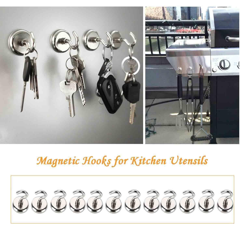 Magnet Haken,Magnete mit Haken Magnethaken,Super Starker Neodym Magnetischer Haken Einsatzbereich K/üche Badezimmer Schlafzimmer Garage Schlie/ßf/ächer B/üro K/ühlschrankmagnet Schl/üsselhalter 12 St/ück
