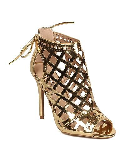 FH90 Women Metallic Leatherette Peep Toe Cut Out Back Tie Stiletto Bootie - Gold