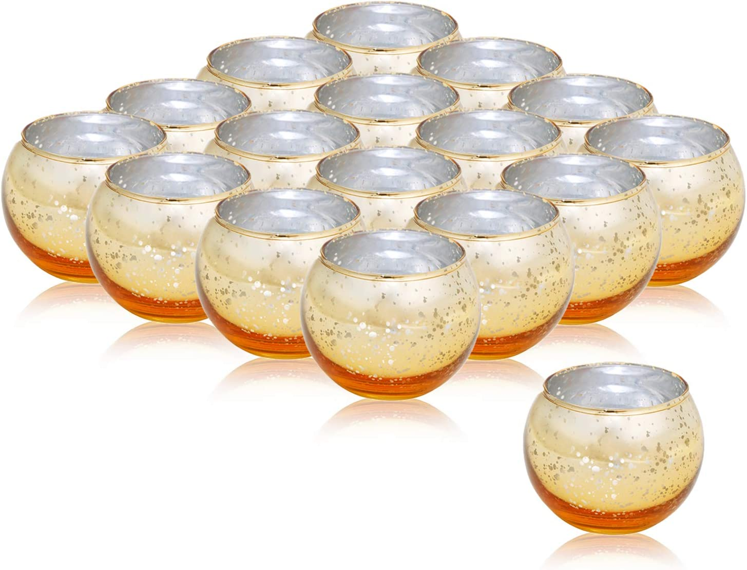48Pcs Votive Candle Holders Mercury Glass Tealight Candle Holder,Perfect Centerpieces for Wedding, Party, Home Decor (gold2)