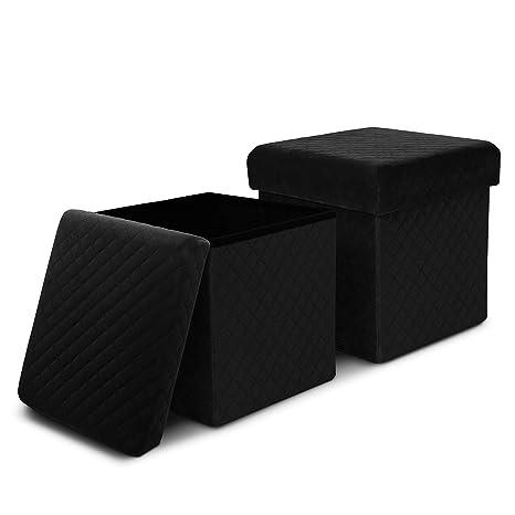 Wondrous Enstver Velvet Storage Ottoman With Tray Coffee Table Folding Foot Rest Stool Seat Cube Set Of 2 Black Machost Co Dining Chair Design Ideas Machostcouk