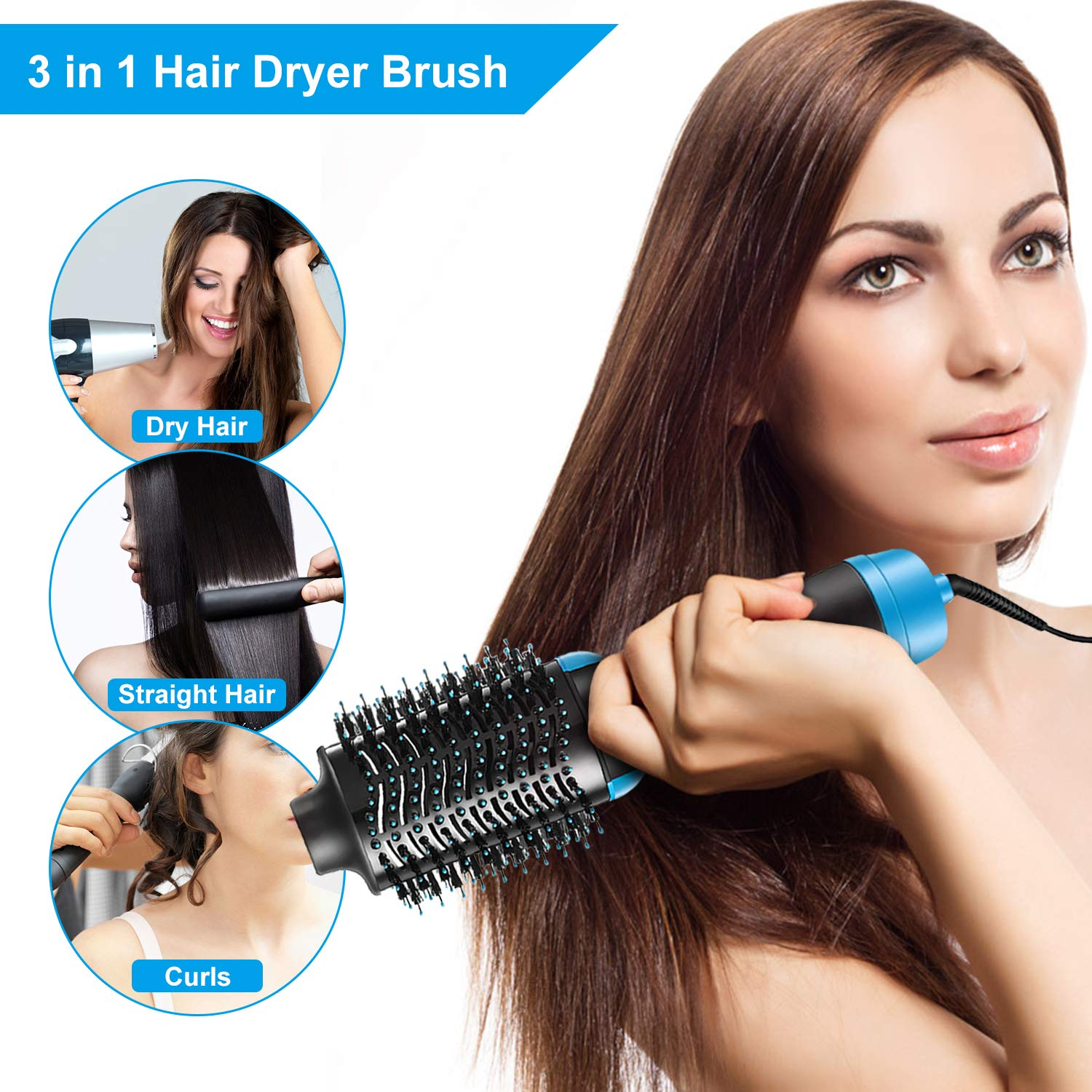 Hair Dryer Brush – Multifunctional Electric Hot Air Round Brush Blow Dryer – One Step Negative Ions Hair Brush Dryer Straightener Styler Reduce Frizz and Static Blue
