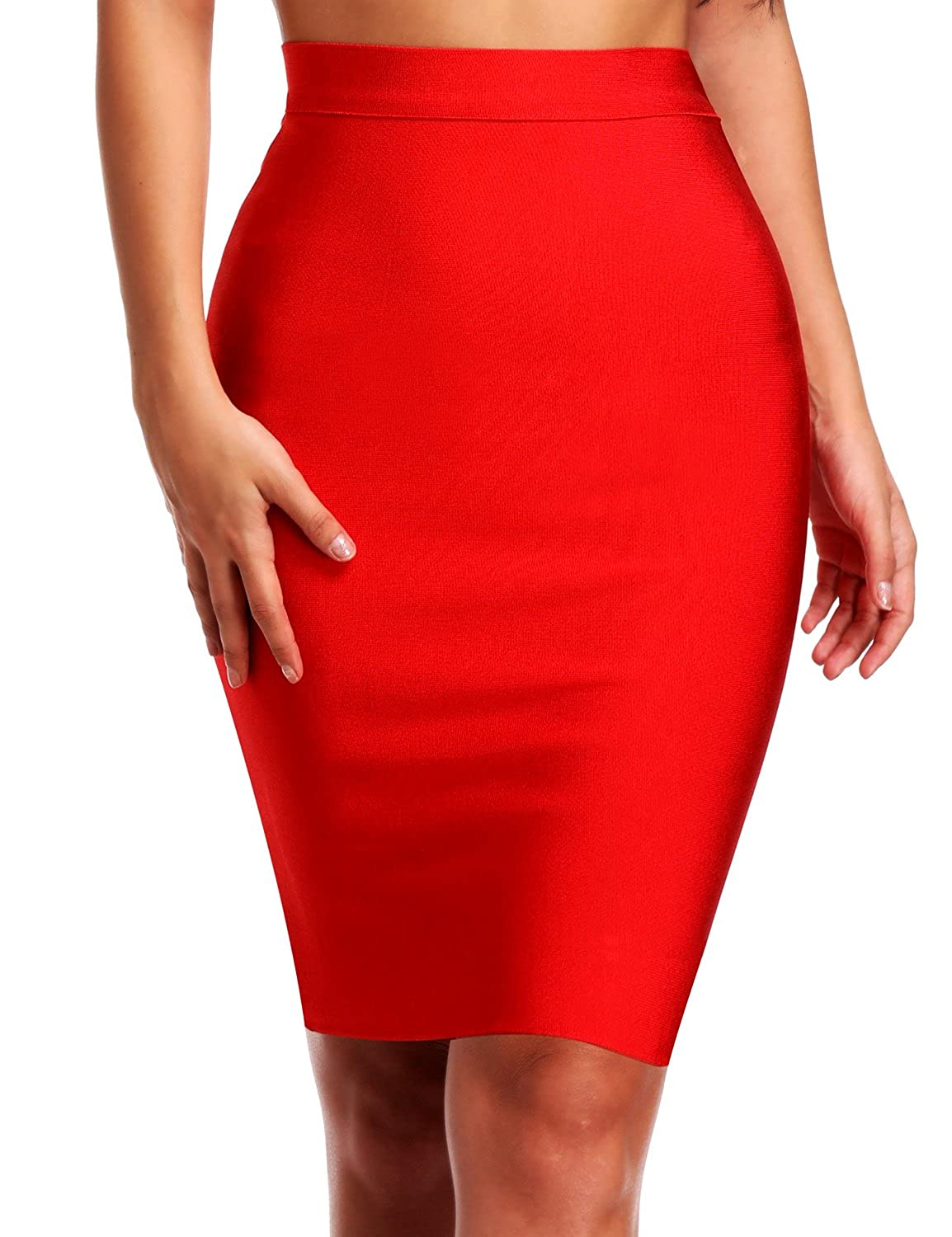 Hego Womens Solid Color Wear to Work Bodycon Bandage Knee-Length Skirt XL H4242