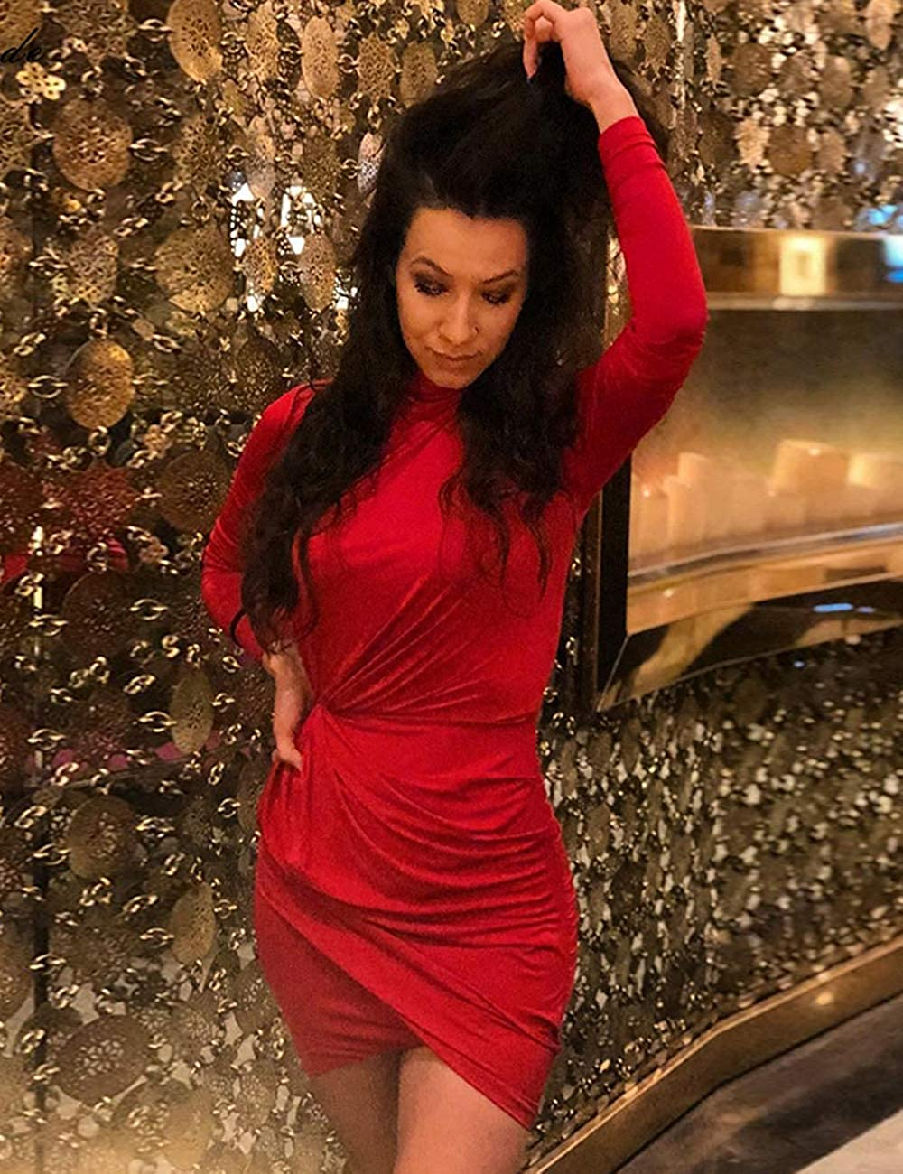 Whoinshop Womens Long Sleeve Bodycon Ruched Elegant Evening Party Mini Dresses
