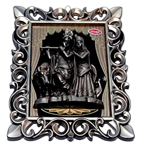 Shri Balaji Enterprises Plastic Archies Radha Krishna Idol Frame, 27 x 20 x 2.5 cm, Golden and Black