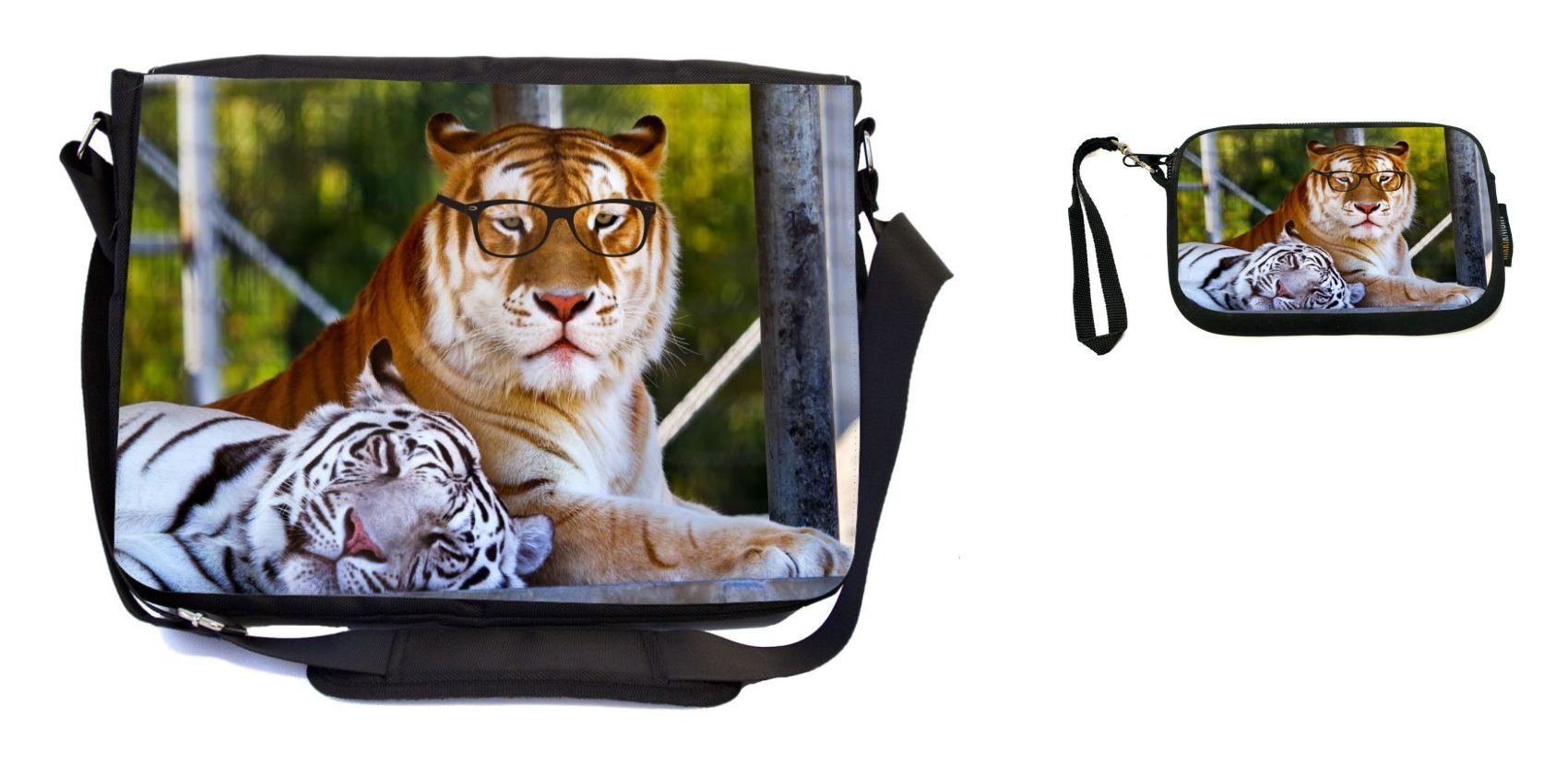 Rikki Knight Hipster Bengal Tigers Resting with Glasses Design Messenger Bag - School Bag - Laptop Bag - with Padded Insert - Includes UKBK Premium Coin Purse by Rikki Knight