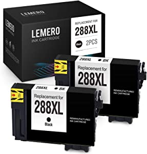 LEMERO Remanufactured Ink Cartridges Replacement for Epson 288 288XL T288XL T288 for Epson Expression Home XP-440 XP-446 XP-430 XP-340 XP-330 XP-434 (2 Black)