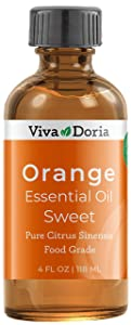 Viva Doria 100% Pure Sweet Orange Essential Oil, Undiluted, Food Grade, Southeast - USA Orange Oil, 118 mL (4 Fl Oz)