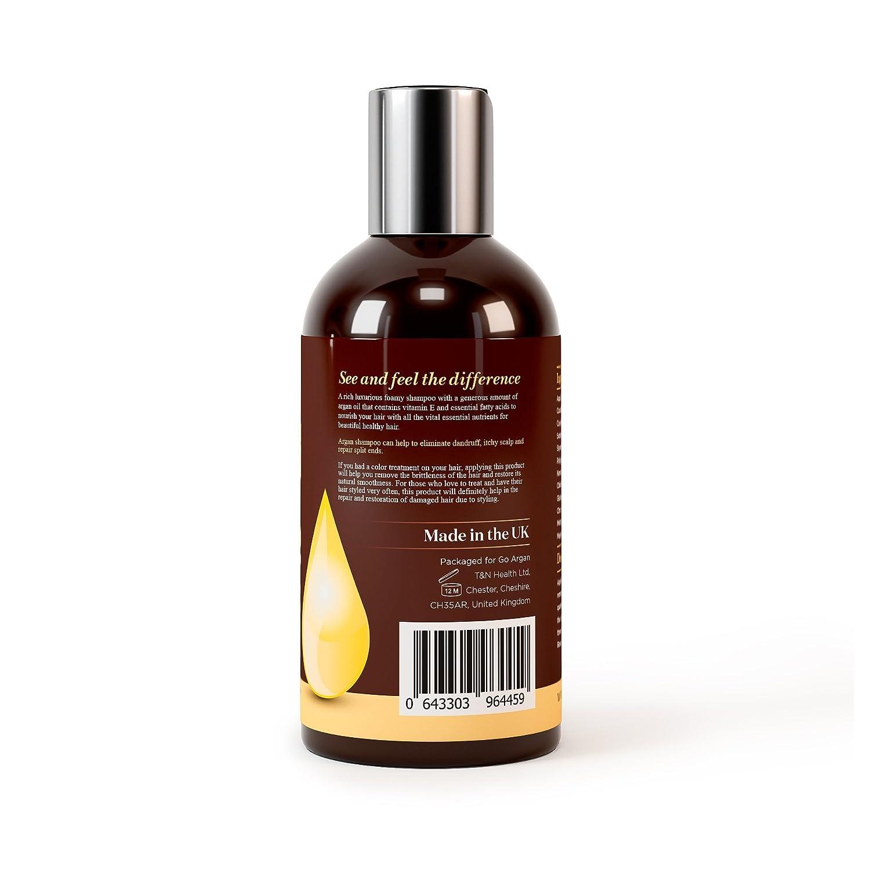 Champú de aceite de argán marroquí con fórmula restaurativa, 250 ml. Suave y sin parabenos para todo tipo de cabello. Limpia, revitaliza, hidrata, desenreda ...