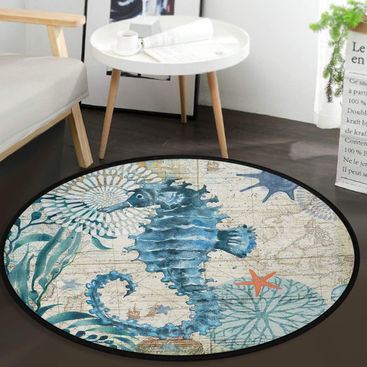 Vdsrup Ocean Sea Horse Doormat Nautical Seahorse Starfish Round Floor Mat Non Slip Carpet Yoga Mat Rug for Entryway Living Room Bedroom Home Decor 3