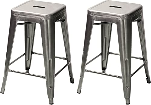 Adeco 24 Gunmetal Glossy Metal Tolix-Style Chair Counter bar Stool Barstool, Set of Two, Metal Tolix