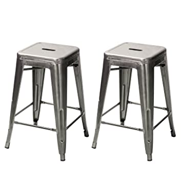 24u0026quot; Gunmetal Glossy Metal Tolix-Style Chair Counter bar Stool  sc 1 st  Amazon.com & Amazon.com: Adeco Top Seller! 24