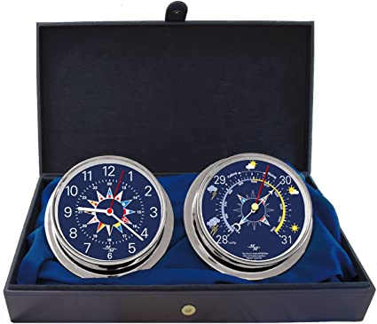 "Master-Mariner Blue Mariner Collection 5.85/"" Diameter Clock and Barometer Instruments Chrome Finish Blue Signal Flag dial Nautical Windlass Gift Set"