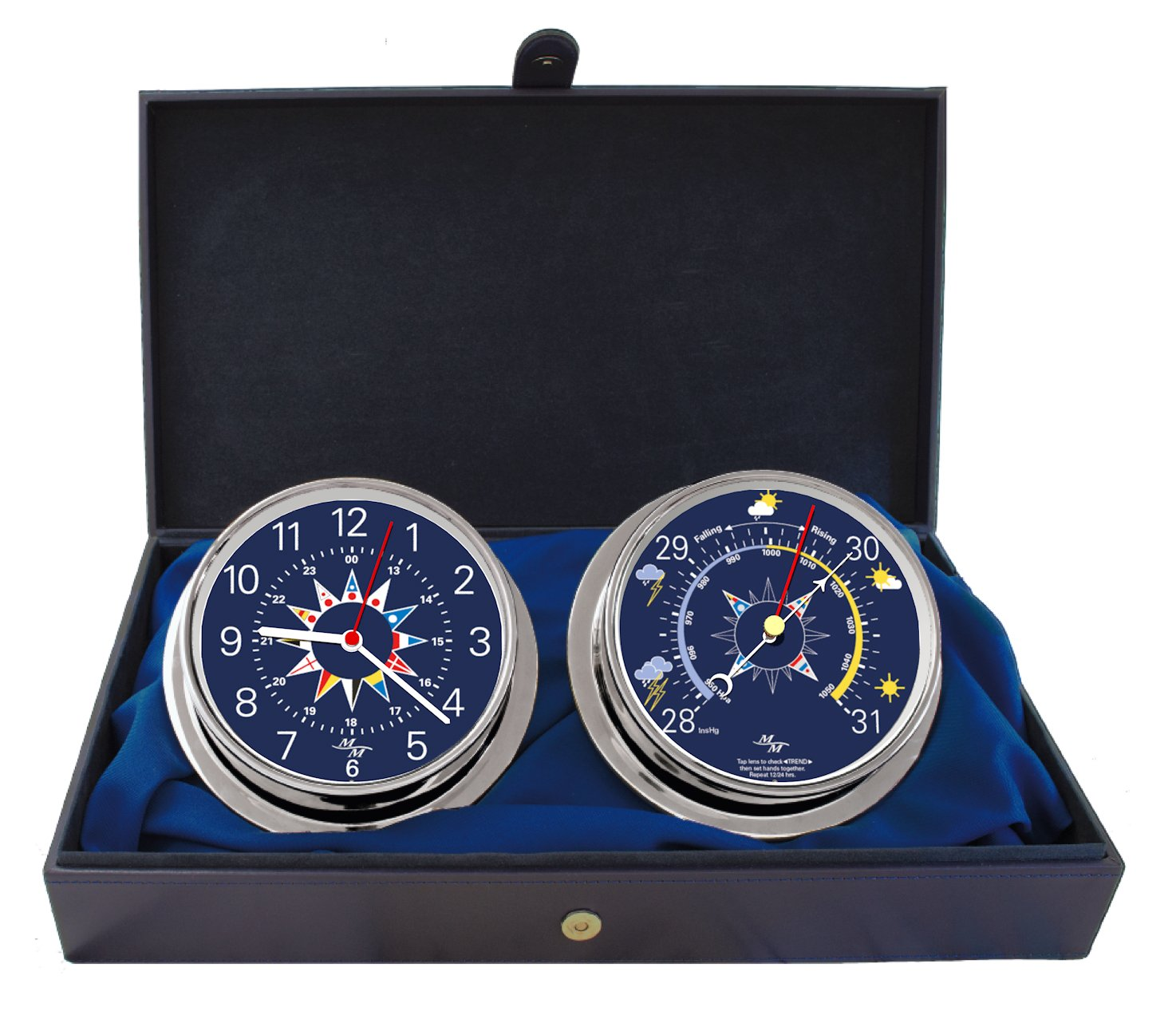 Cabin Gift Set Clock & Barometer by Master-Mariner, Chrome finish, Blue flag dial