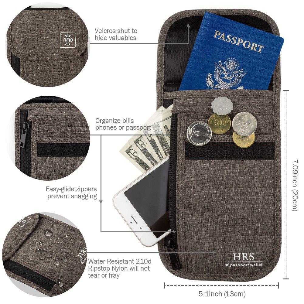 ed7532364 ... HRS Neck Wallet w/RFID Blocking- Concealed Travel Pouch & Passport  Holder 10483343 ...